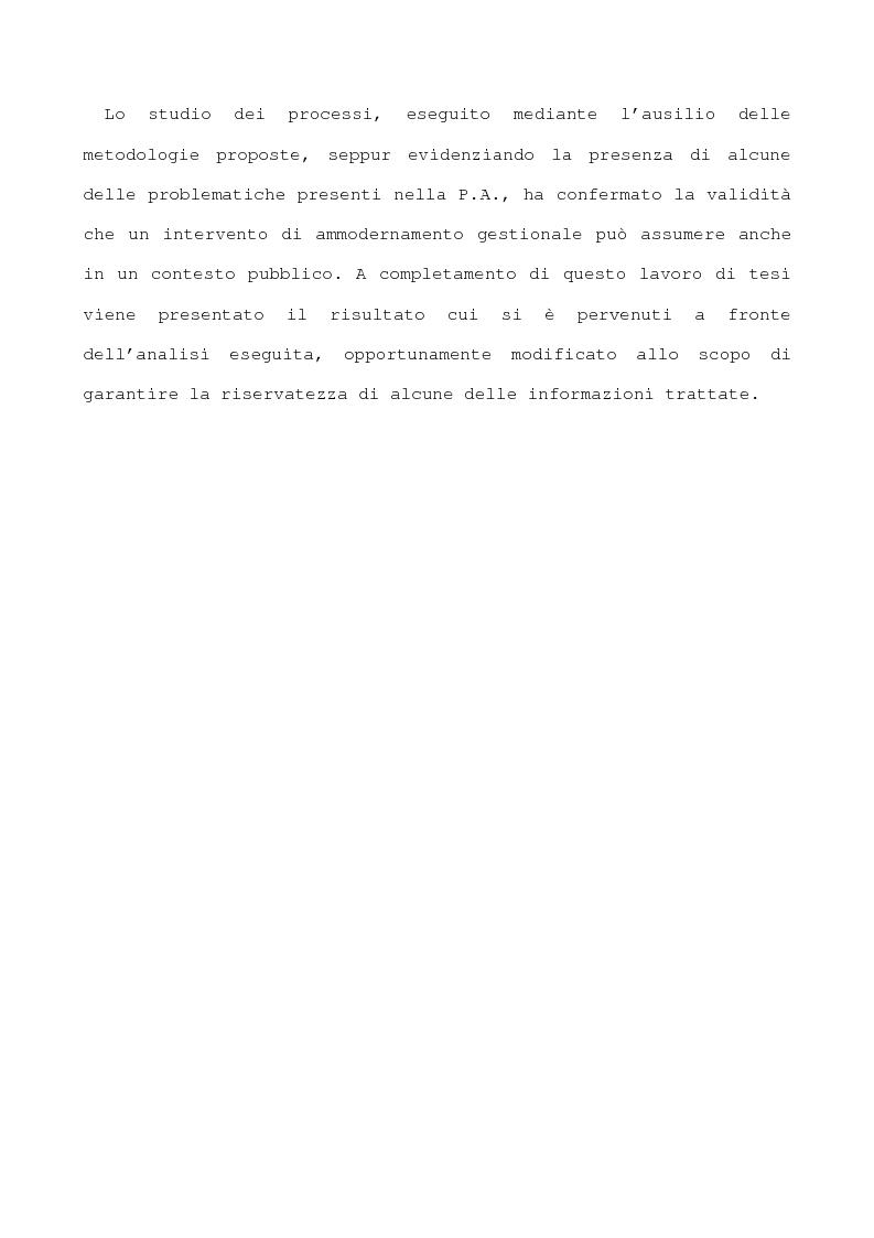 Anteprima della tesi: Metodi per l'implementazione di un sistema di controllo di gestione nella pubblica amministrazione, Pagina 2