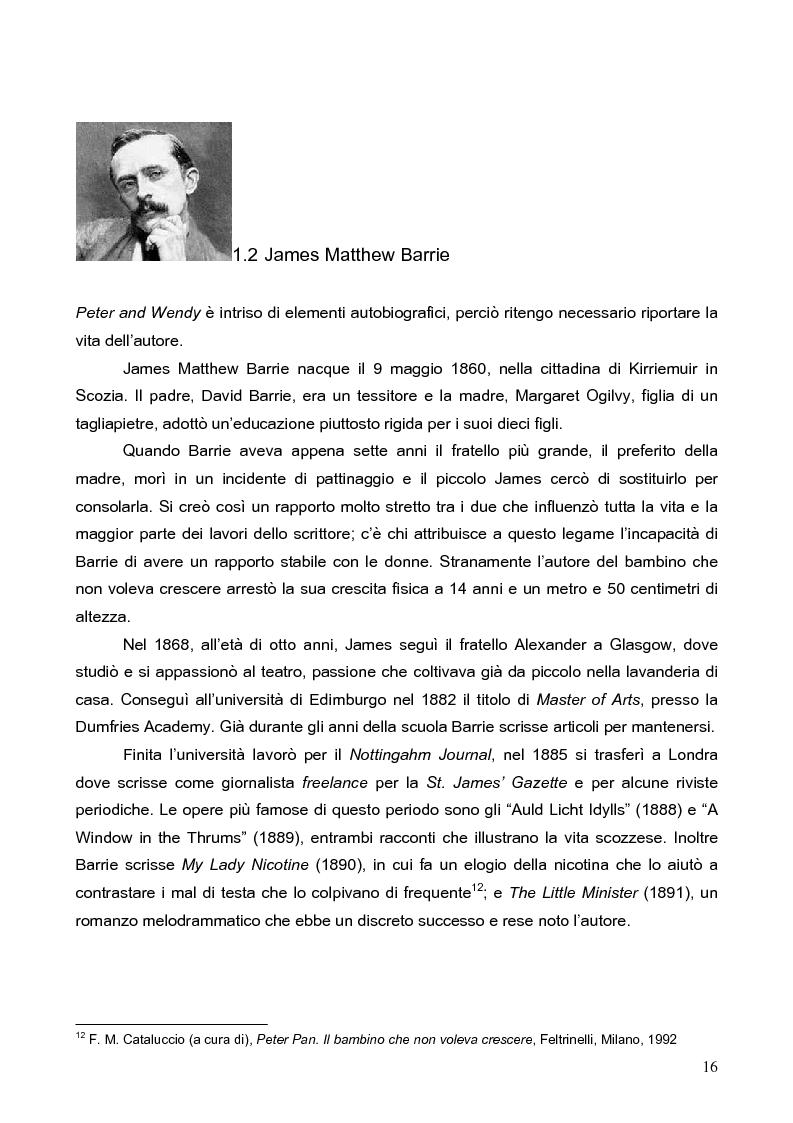 Anteprima della tesi: Peter Pan, il bambino che non voleva crescere: dalla letteratura al cinema, Pagina 13