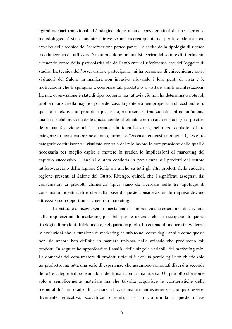 Anteprima della tesi: Significati assegnati dai consumatori ai prodotti alimentari tipici. Il caso di due Presìdi Sloow Food della Sicilia., Pagina 4
