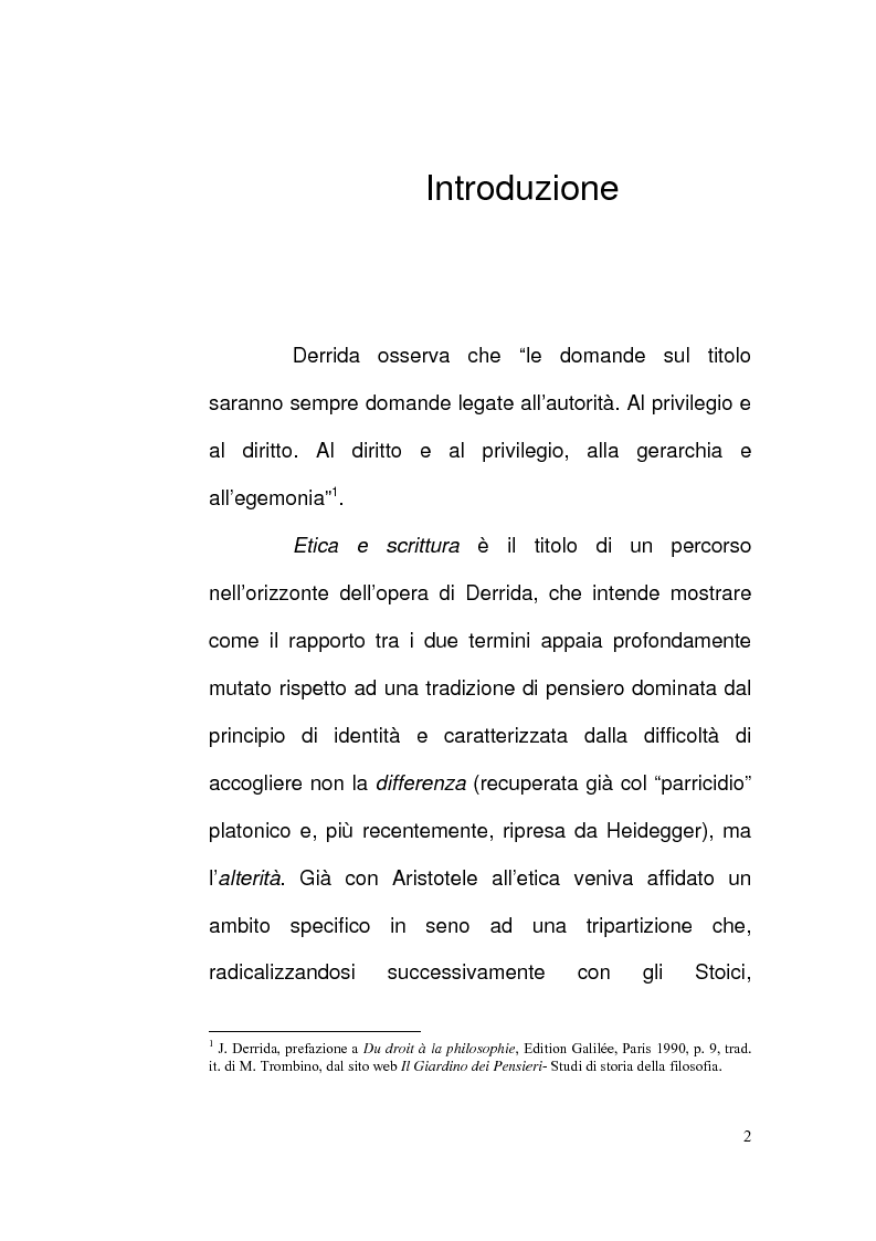 Anteprima della tesi: Etica e Scrittura: l'esperienza dell'Altro nell'opera di Jacques Derrida, Pagina 1