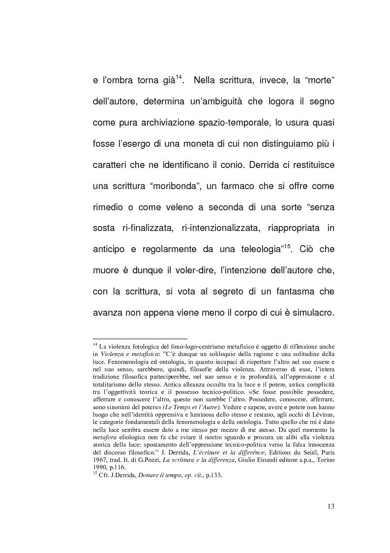 Anteprima della tesi: Etica e Scrittura: l'esperienza dell'Altro nell'opera di Jacques Derrida, Pagina 12