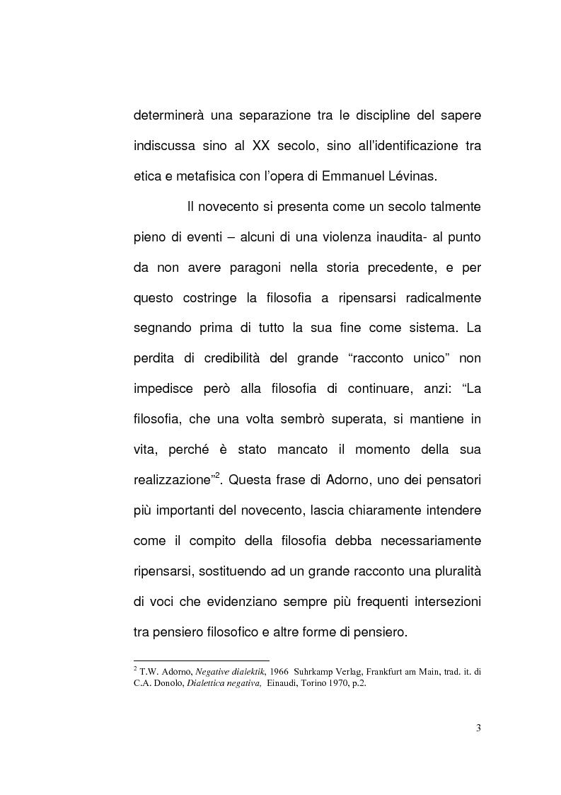 Anteprima della tesi: Etica e Scrittura: l'esperienza dell'Altro nell'opera di Jacques Derrida, Pagina 2