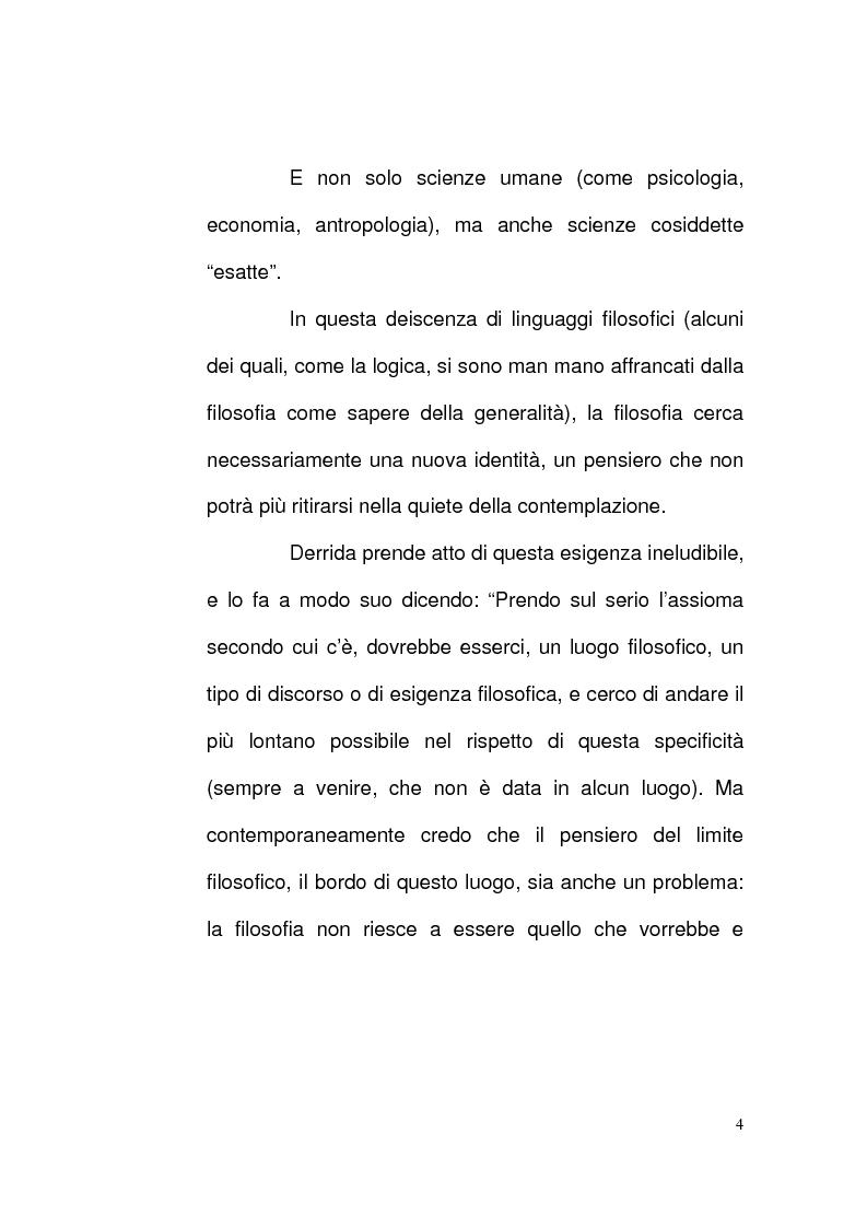 Anteprima della tesi: Etica e Scrittura: l'esperienza dell'Altro nell'opera di Jacques Derrida, Pagina 3