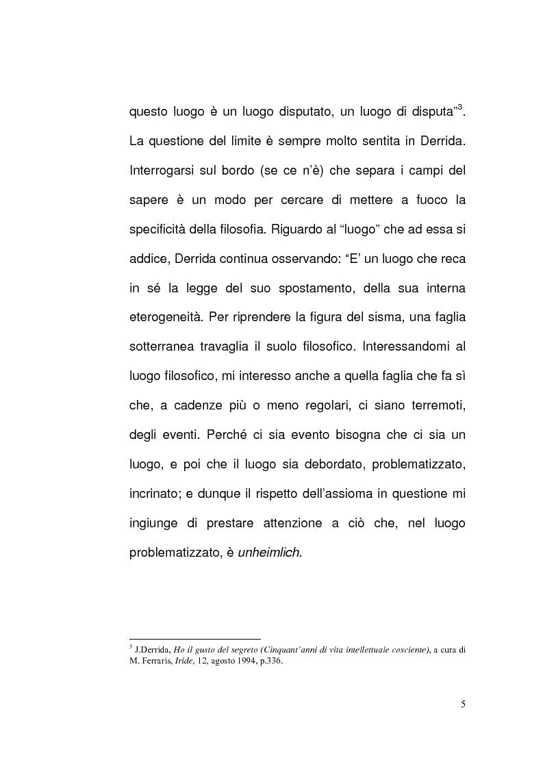 Anteprima della tesi: Etica e Scrittura: l'esperienza dell'Altro nell'opera di Jacques Derrida, Pagina 4