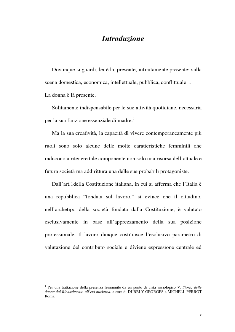 Anteprima della tesi: Profili attuali in materia di lavoro femminile, Pagina 1