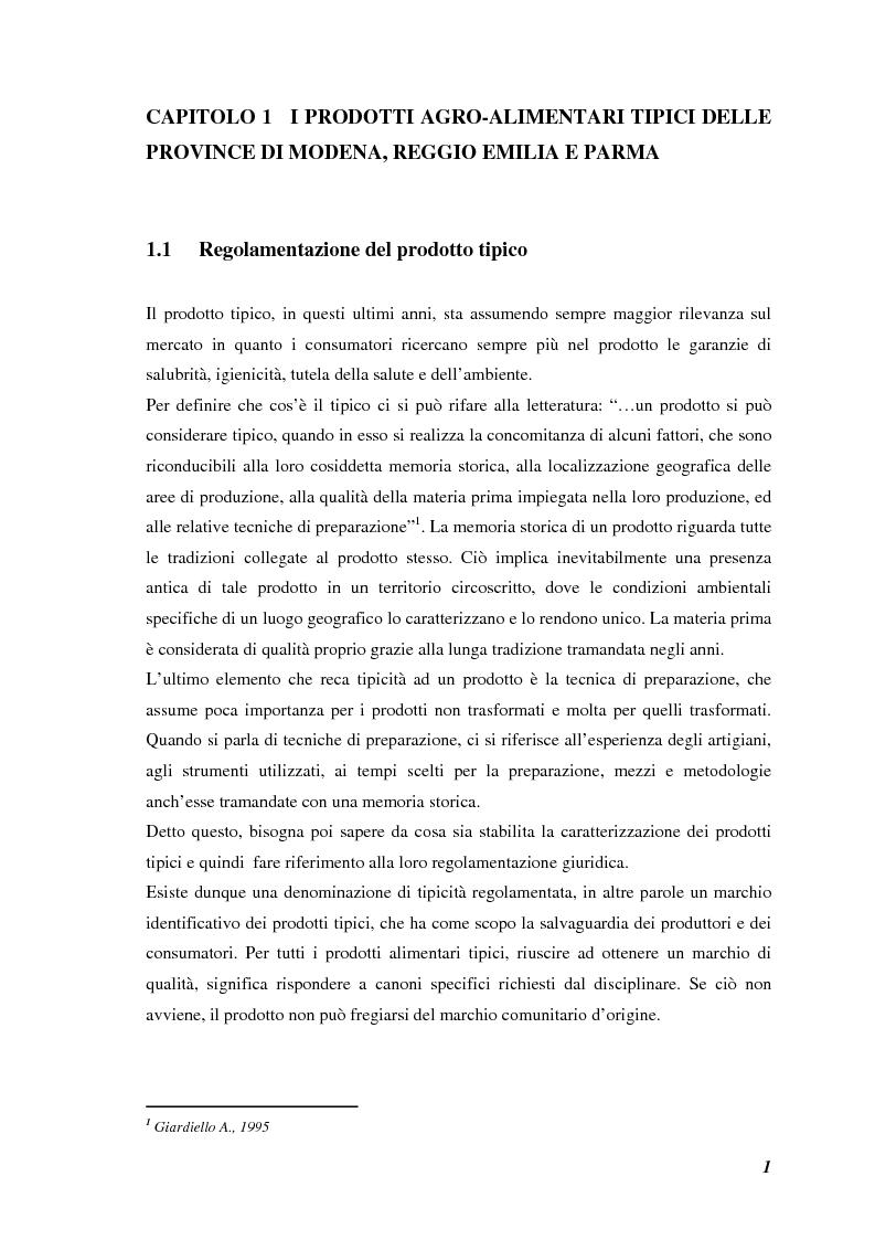 Anteprima della tesi: Prodotti tipici, azioni di marketing ed educazione alimentare: l'esperienza nelle scuole primarie di Reggio Emilia, Pagina 3