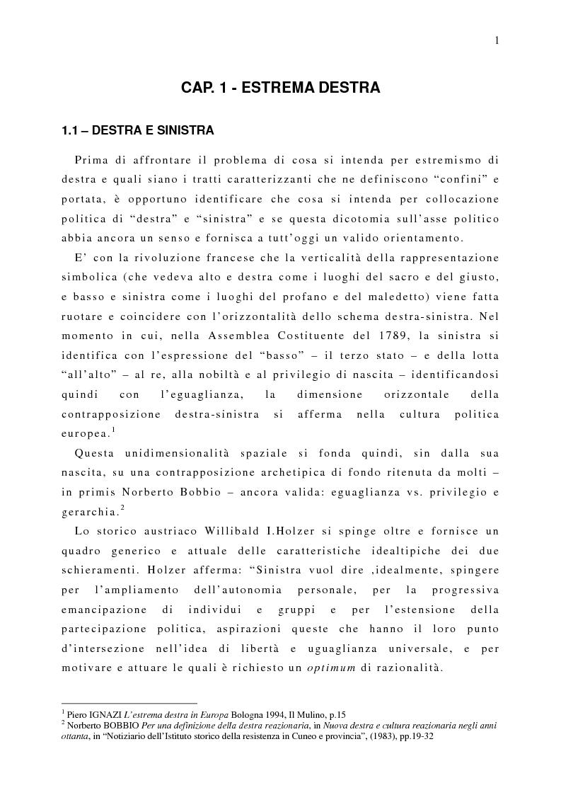 Anteprima della tesi: Il fenomeno naziskin. Analisi di una sottocultura giovanile., Pagina 1
