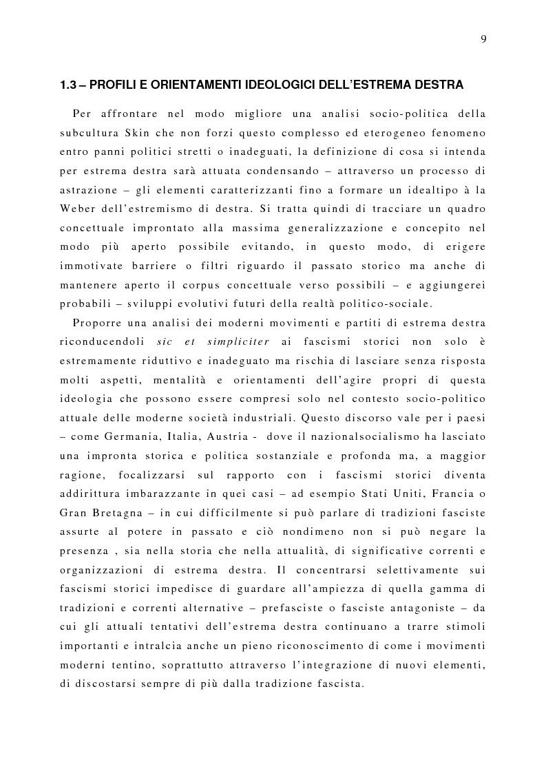Anteprima della tesi: Il fenomeno naziskin. Analisi di una sottocultura giovanile., Pagina 9