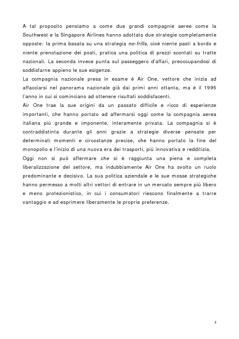 Anteprima della tesi: Il marketing dei servizi nel settore delle compagnie aeree. Il caso Air One., Pagina 2
