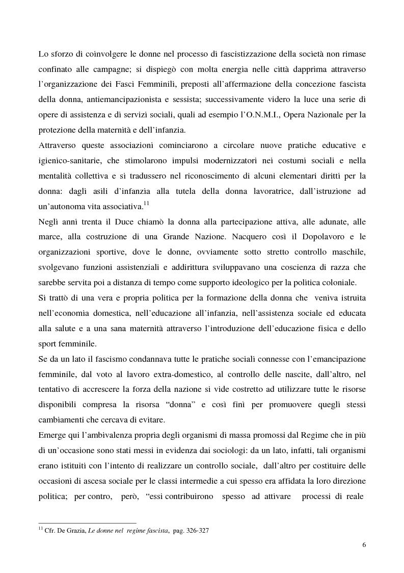 Anteprima della tesi: Le donne e il fascismo, Pagina 6