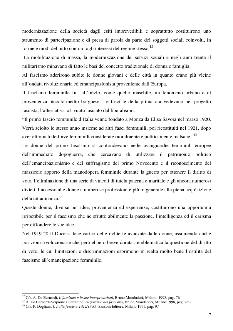 Anteprima della tesi: Le donne e il fascismo, Pagina 7