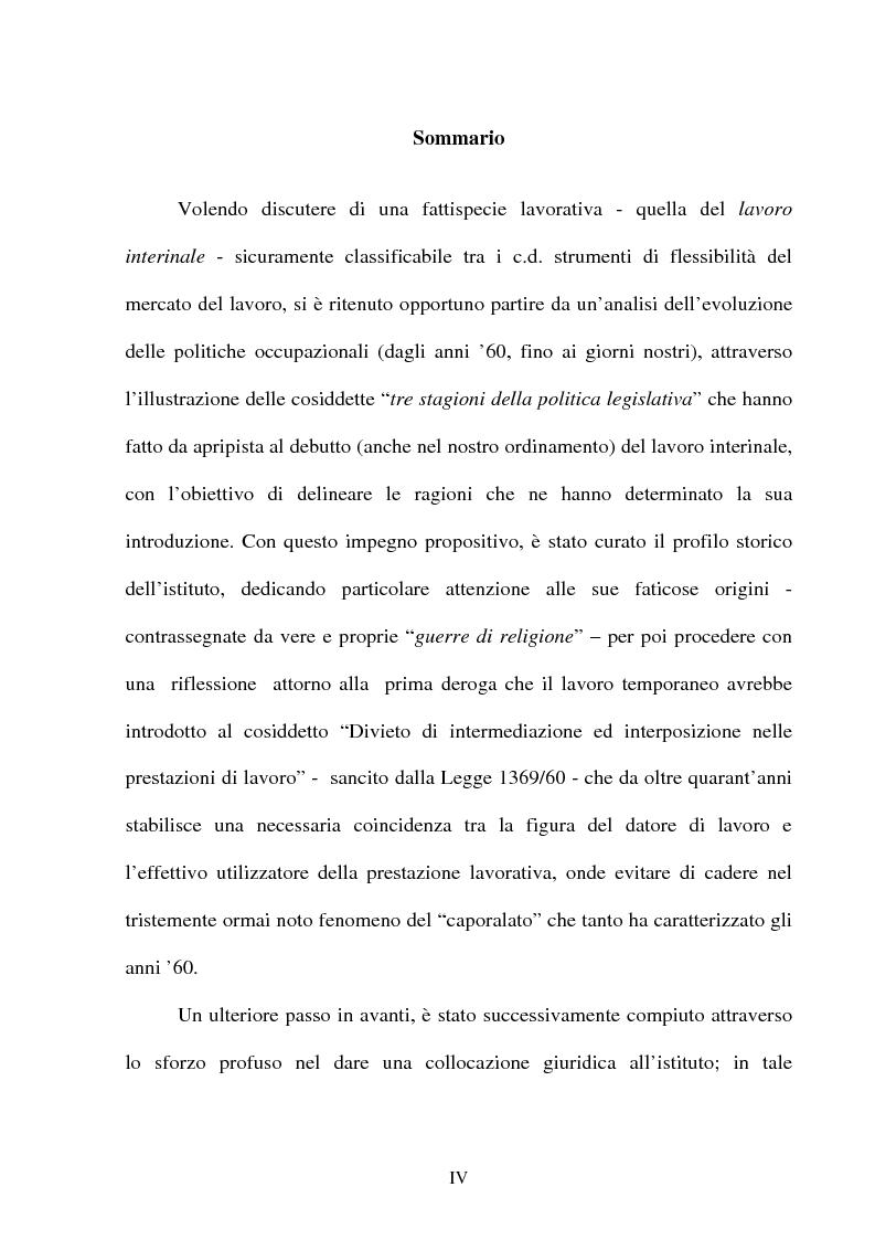 Anteprima della tesi: Il lavoro temporaneo fra flessibilità e tutela, Pagina 1