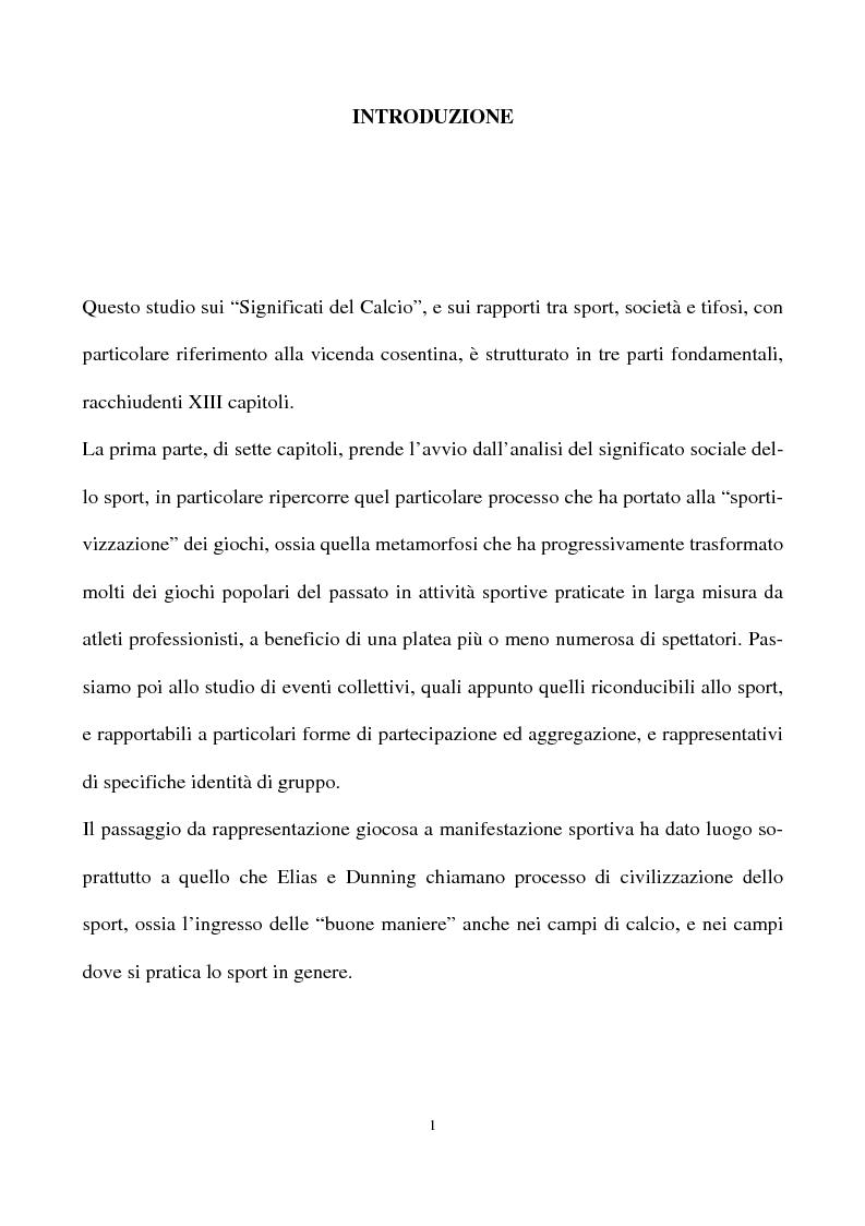 Anteprima della tesi: ''I significati del Calcio''. Sport, società e tifosi, con particolare riferimento alla vicenda cosentina., Pagina 1