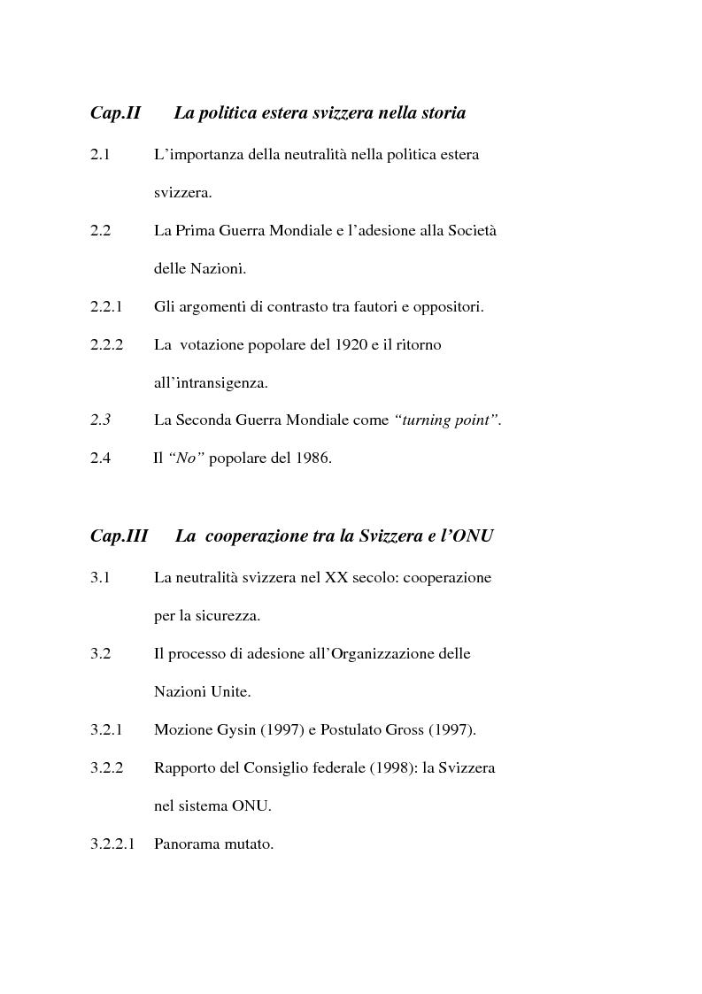 Indice della tesi: Svizzera e ONU: alla ricerca di una difficile neutralità, Pagina 2