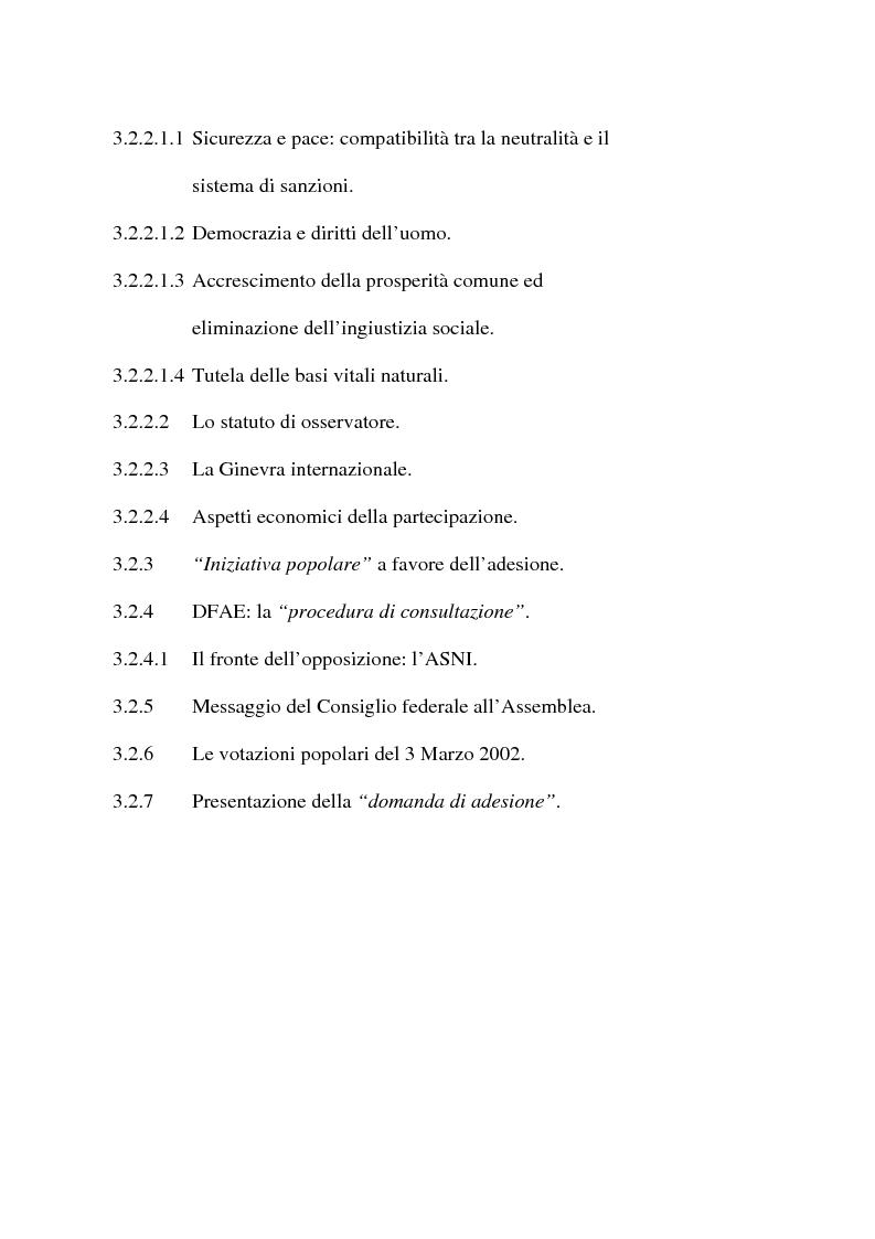 Indice della tesi: Svizzera e ONU: alla ricerca di una difficile neutralità, Pagina 3