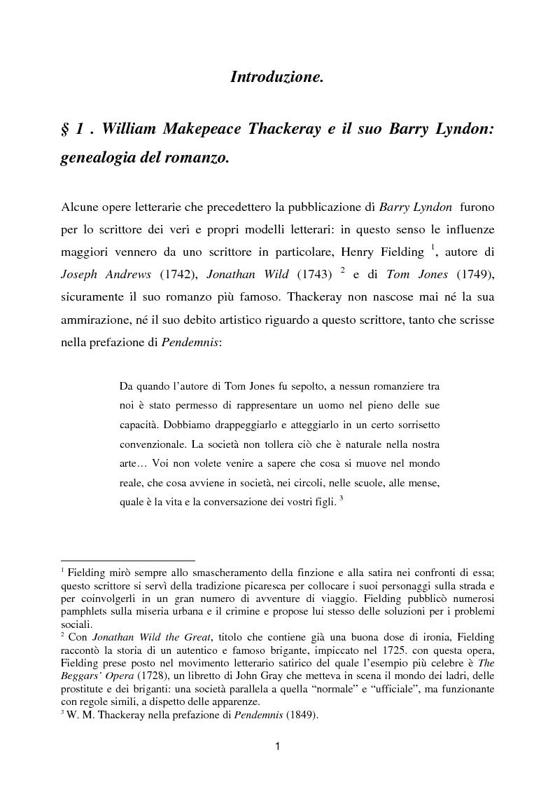 Anteprima della tesi: Barry Lyndon tra letteratura e cinema, Pagina 1