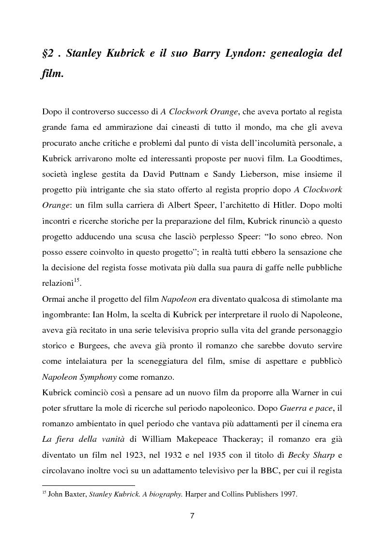 Anteprima della tesi: Barry Lyndon tra letteratura e cinema, Pagina 7