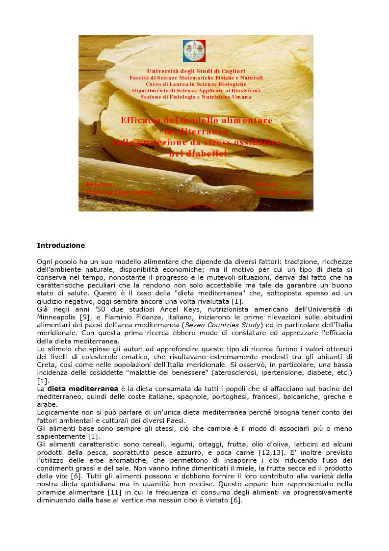 Efficacia del modello alimentare mediterraneo sulla..