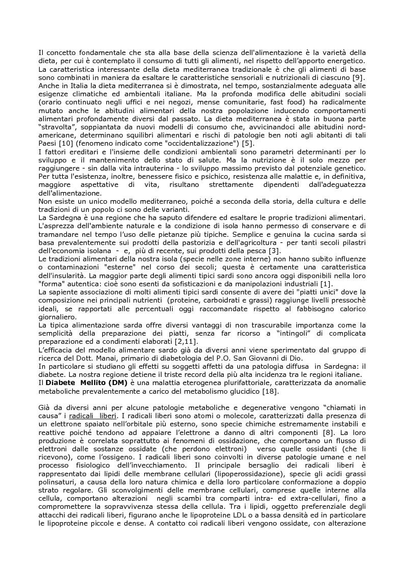 Anteprima della tesi: Efficacia del modello alimentare mediterraneo sulla protezione da stress ossidativo nei diabetici, Pagina 2