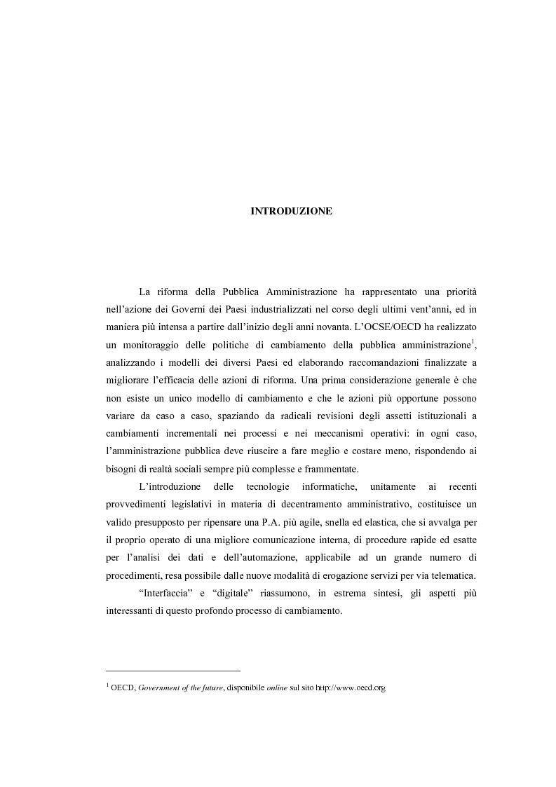 Anteprima della tesi: L'interfaccia digitale della Pubblica Amministrazione, Pagina 1