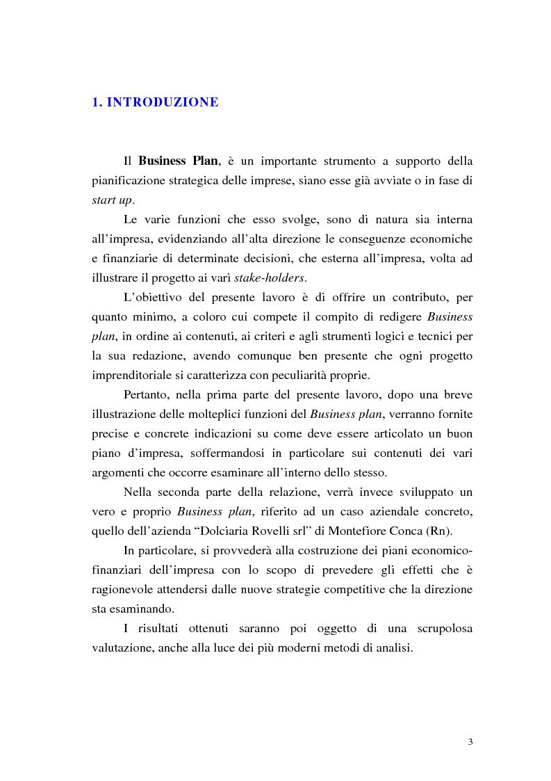 Anteprima della tesi: Strumenti di pianificazione strategica: il business plan, Pagina 1