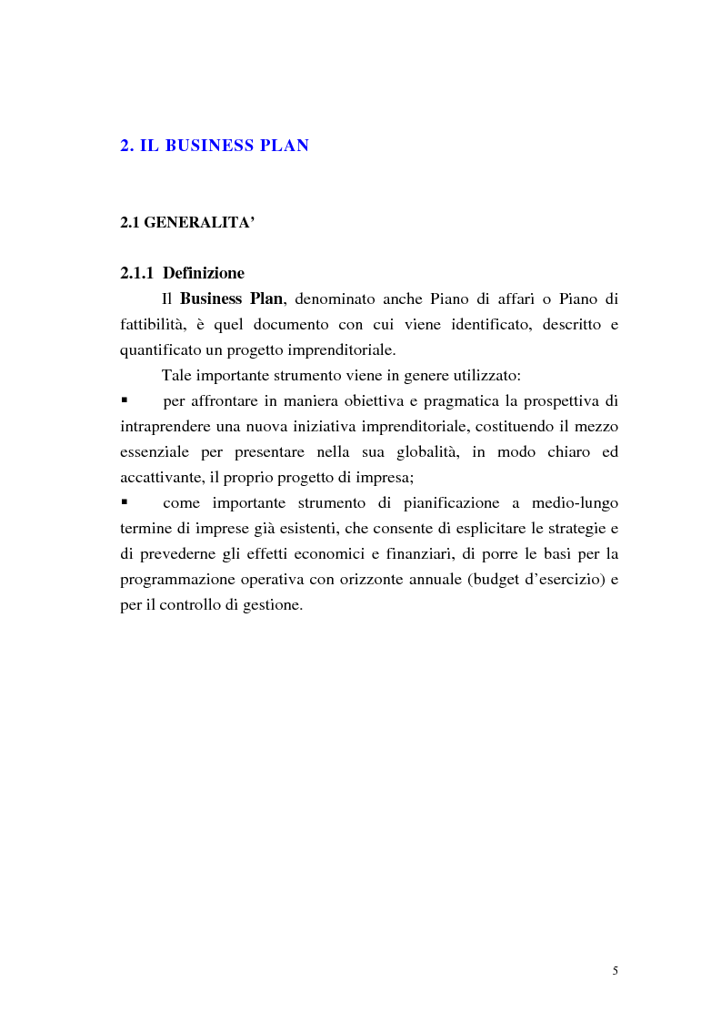 Anteprima della tesi: Strumenti di pianificazione strategica: il business plan, Pagina 3