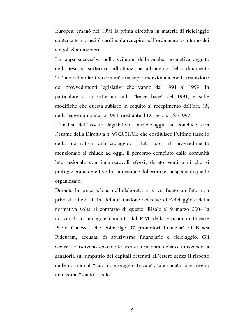 Anteprima della tesi: Evoluzione della normativa antiriciclaggio dalla legge n. 197/1991 alle questioni poste con il c.d. ''scudo fiscale'', Pagina 2