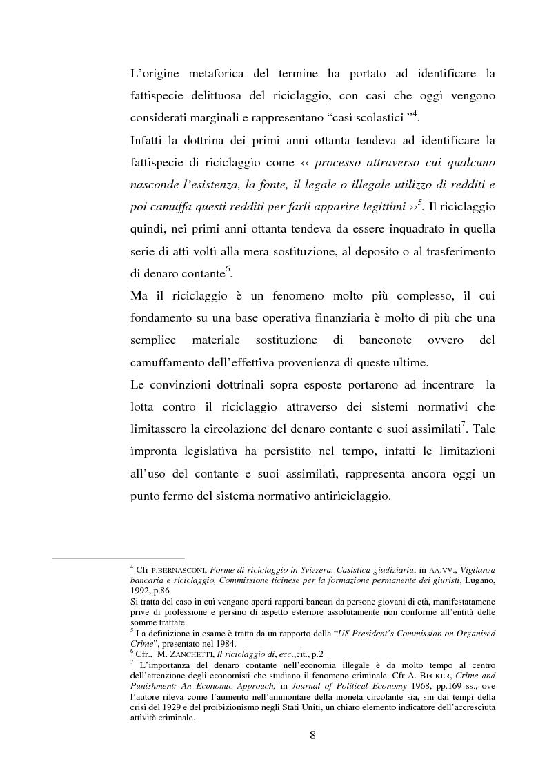 Anteprima della tesi: Evoluzione della normativa antiriciclaggio dalla legge n. 197/1991 alle questioni poste con il c.d. ''scudo fiscale'', Pagina 5