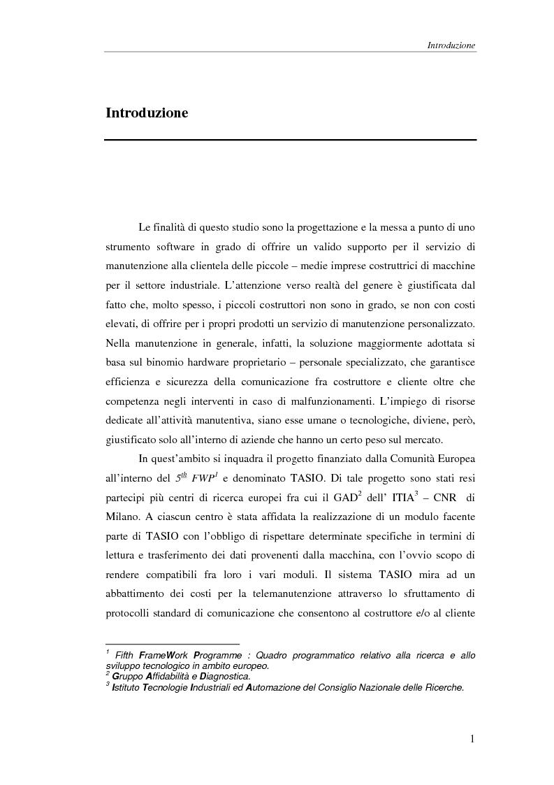 Anteprima della tesi: Un modulo di diagnosi evoluta per il progetto europeo TASIO, Pagina 1