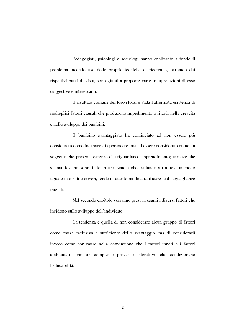 Anteprima della tesi: Bambini svantaggiati. Metodi ed azioni di decondizionamento. Studio di un caso., Pagina 2