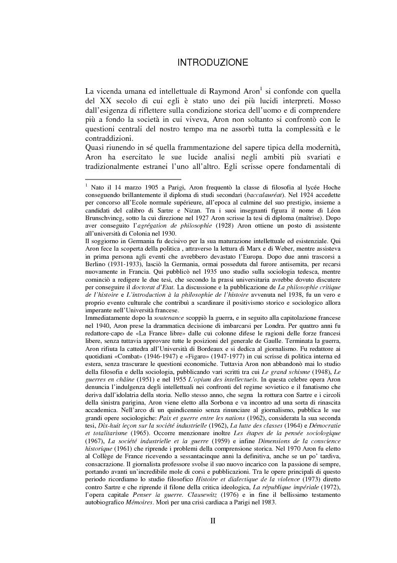 Anteprima della tesi: Filosofie della storia e filosofia critica della storia nel pensiero di Raymond Aron, Pagina 1