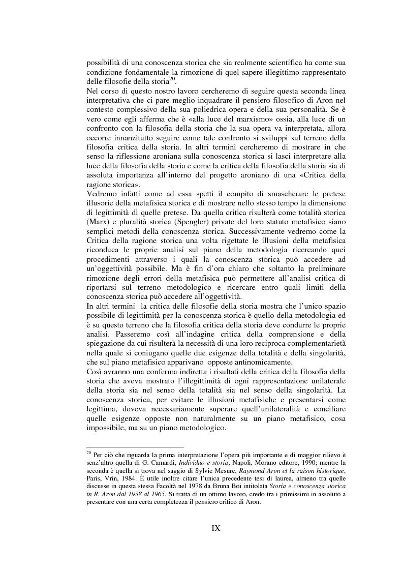 Anteprima della tesi: Filosofie della storia e filosofia critica della storia nel pensiero di Raymond Aron, Pagina 8