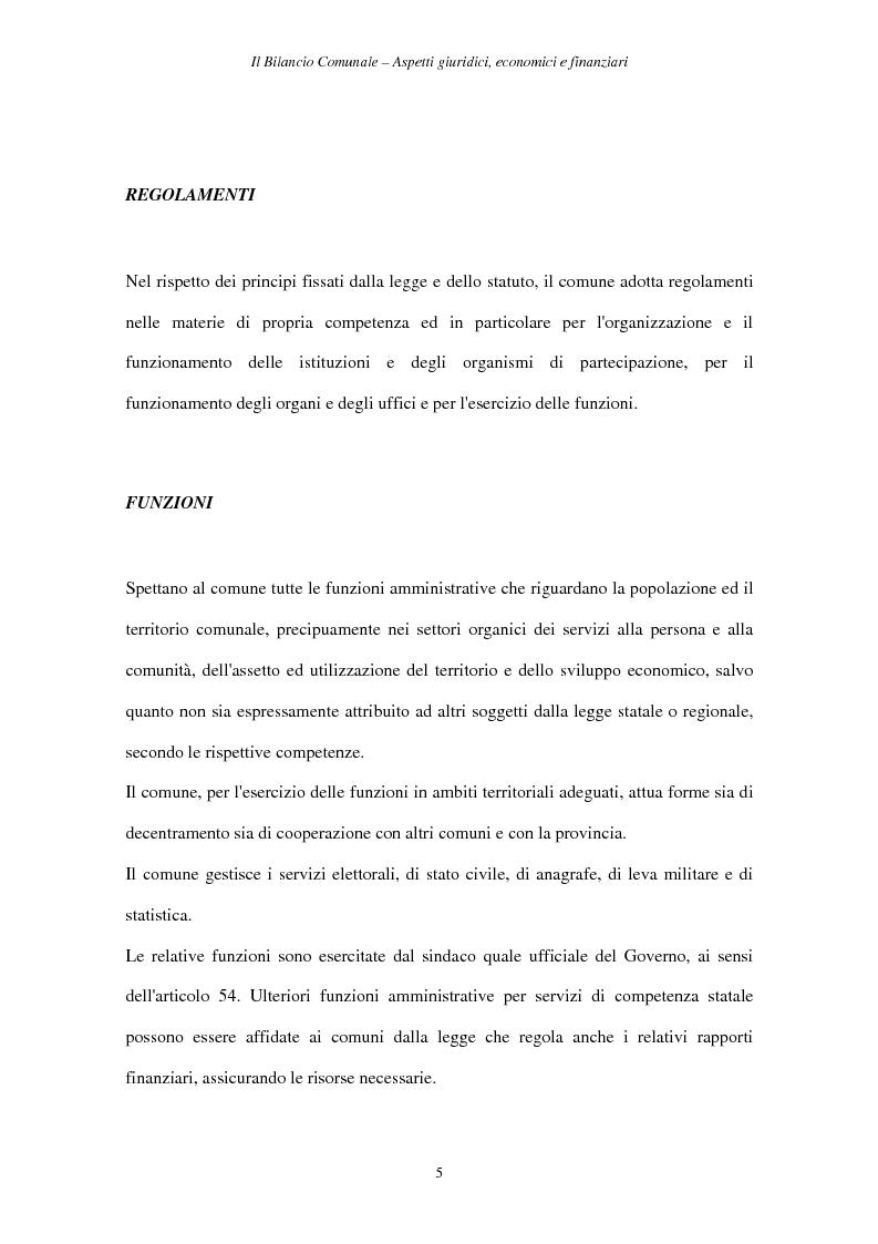 Anteprima della tesi: Il Bilancio Comunale. Aspetti giuridici, economici e finanziari, Pagina 5