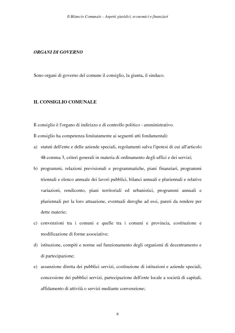 Anteprima della tesi: Il Bilancio Comunale. Aspetti giuridici, economici e finanziari, Pagina 6