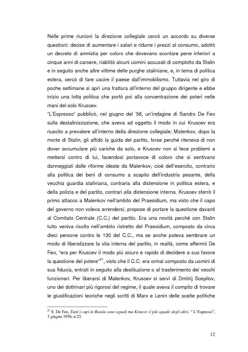 """Anteprima della tesi: Destalinizzazione e autonomia socialista nelle pagine de """"L'Espresso"""" (1956-1958), Pagina 12"""
