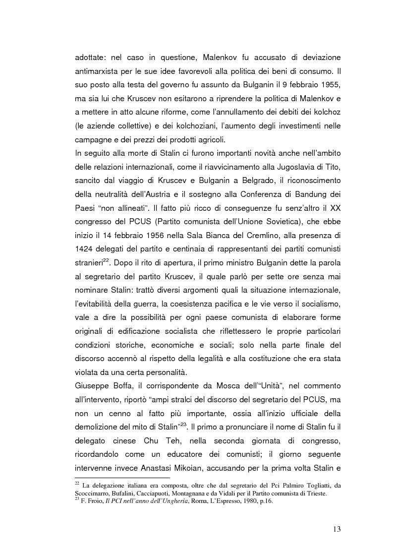 """Anteprima della tesi: Destalinizzazione e autonomia socialista nelle pagine de """"L'Espresso"""" (1956-1958), Pagina 13"""