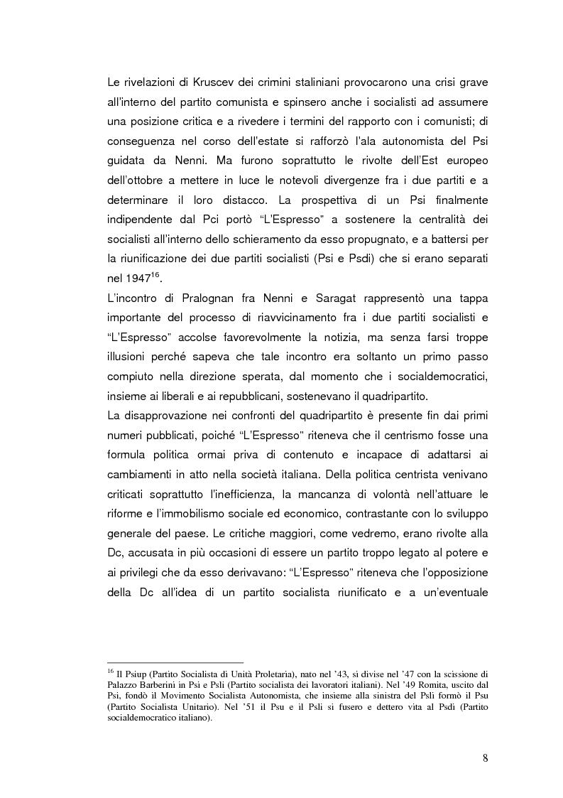 """Anteprima della tesi: Destalinizzazione e autonomia socialista nelle pagine de """"L'Espresso"""" (1956-1958), Pagina 8"""