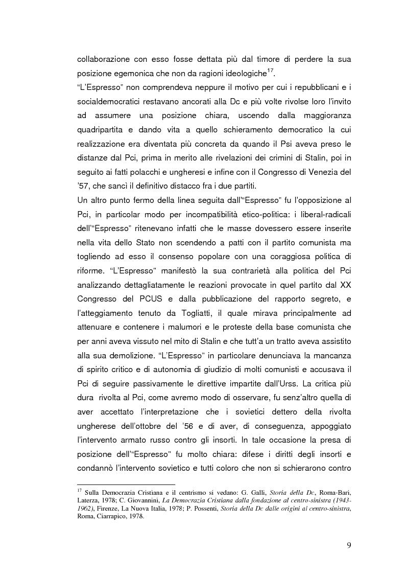 """Anteprima della tesi: Destalinizzazione e autonomia socialista nelle pagine de """"L'Espresso"""" (1956-1958), Pagina 9"""