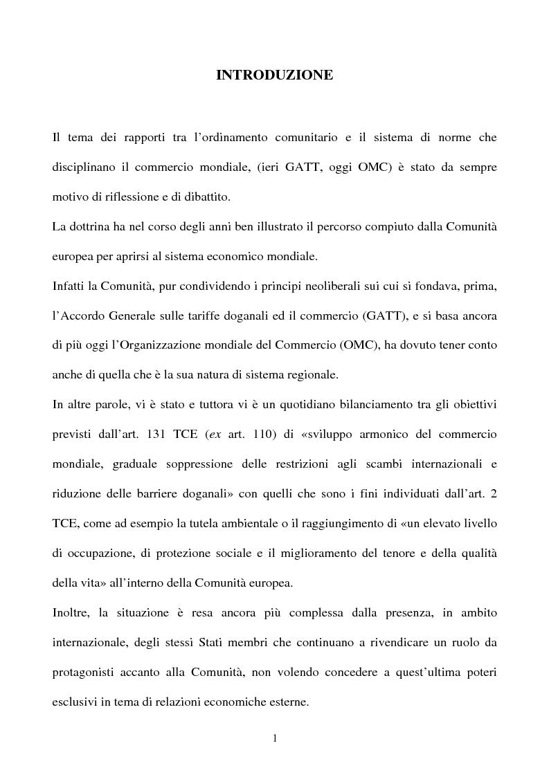 Anteprima della tesi: La partecipazione della CE all'organizzazione mondiale del commercio e i limiti della sua competenza in materia di politica commerciale comune, Pagina 1