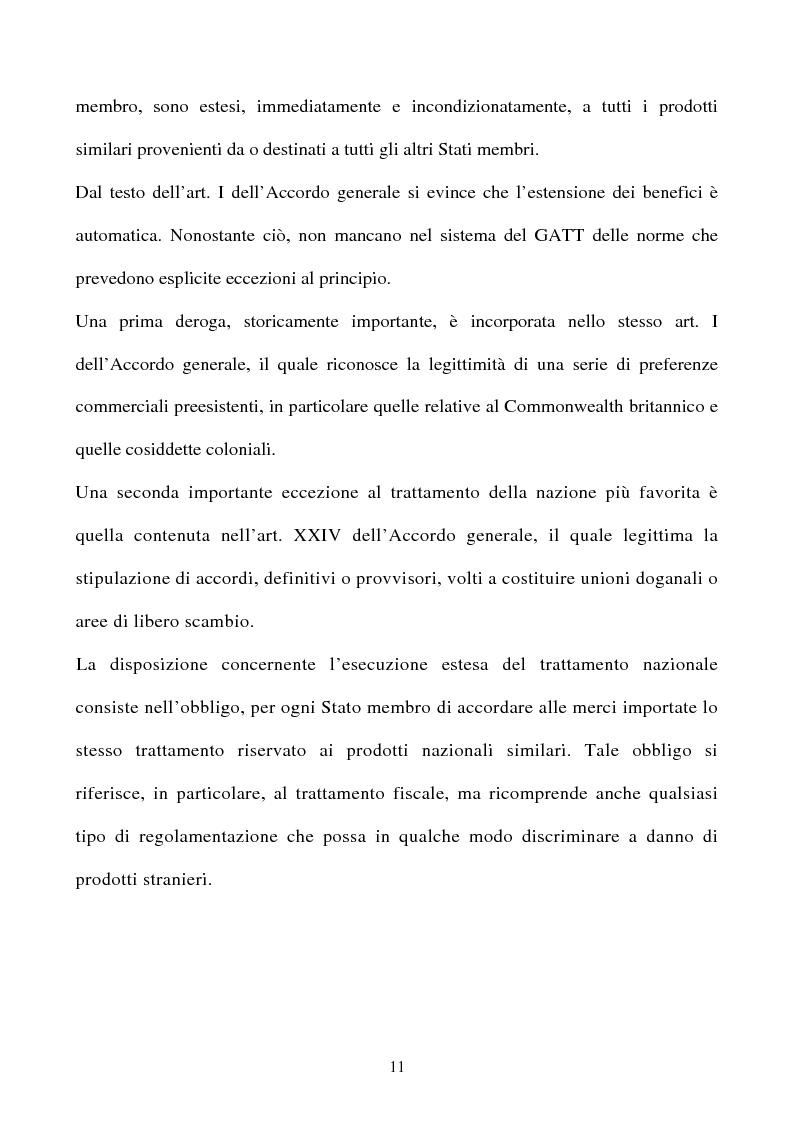 Anteprima della tesi: La partecipazione della CE all'organizzazione mondiale del commercio e i limiti della sua competenza in materia di politica commerciale comune, Pagina 11