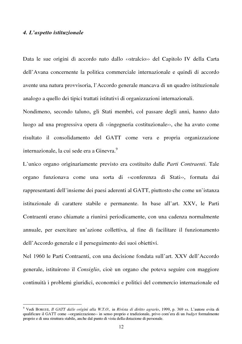 Anteprima della tesi: La partecipazione della CE all'organizzazione mondiale del commercio e i limiti della sua competenza in materia di politica commerciale comune, Pagina 12