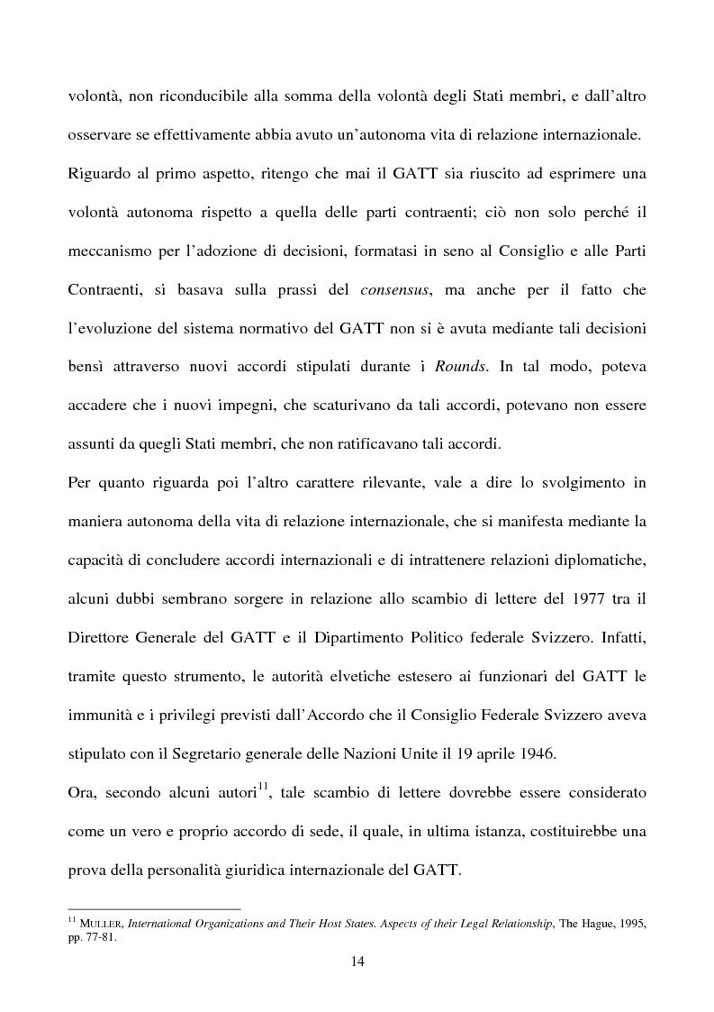 Anteprima della tesi: La partecipazione della CE all'organizzazione mondiale del commercio e i limiti della sua competenza in materia di politica commerciale comune, Pagina 14