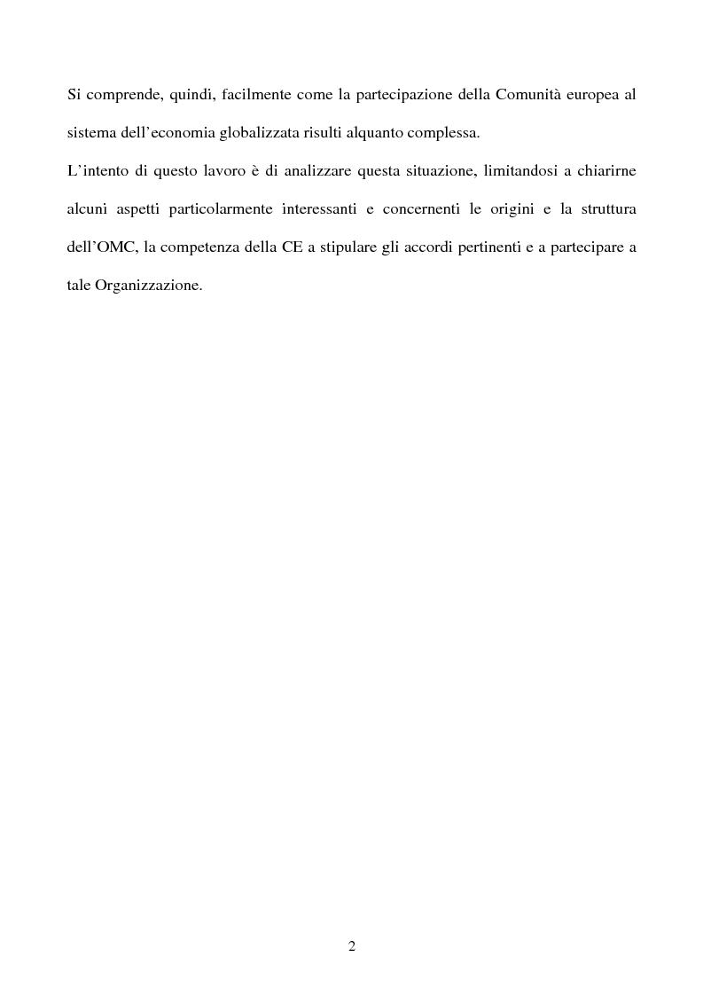 Anteprima della tesi: La partecipazione della CE all'organizzazione mondiale del commercio e i limiti della sua competenza in materia di politica commerciale comune, Pagina 2