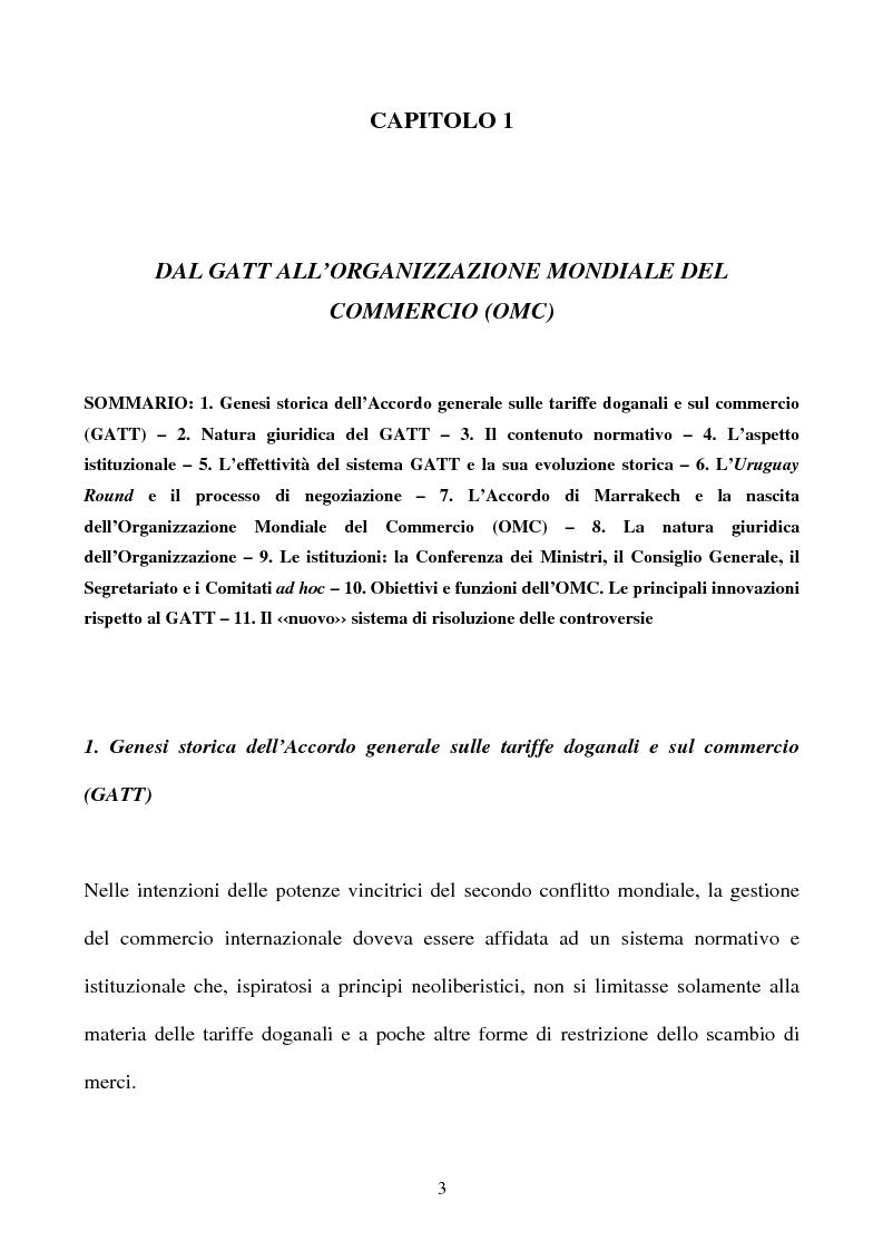 Anteprima della tesi: La partecipazione della CE all'organizzazione mondiale del commercio e i limiti della sua competenza in materia di politica commerciale comune, Pagina 3