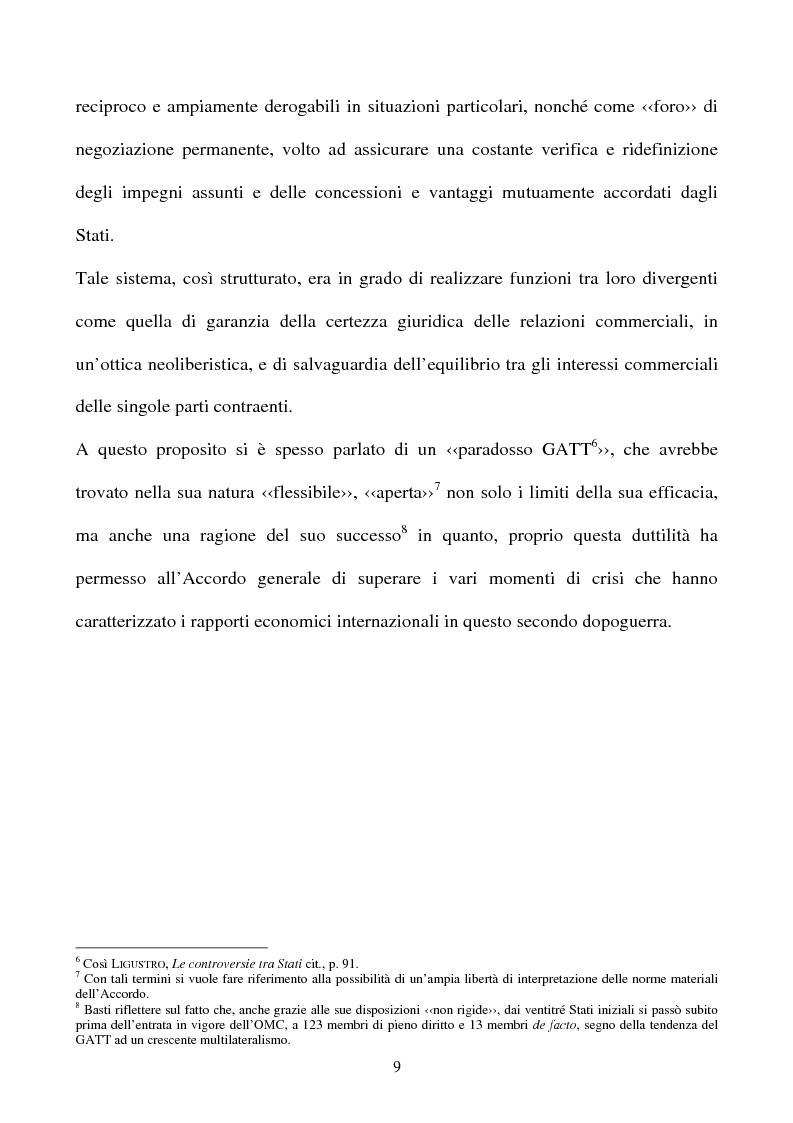 Anteprima della tesi: La partecipazione della CE all'organizzazione mondiale del commercio e i limiti della sua competenza in materia di politica commerciale comune, Pagina 9
