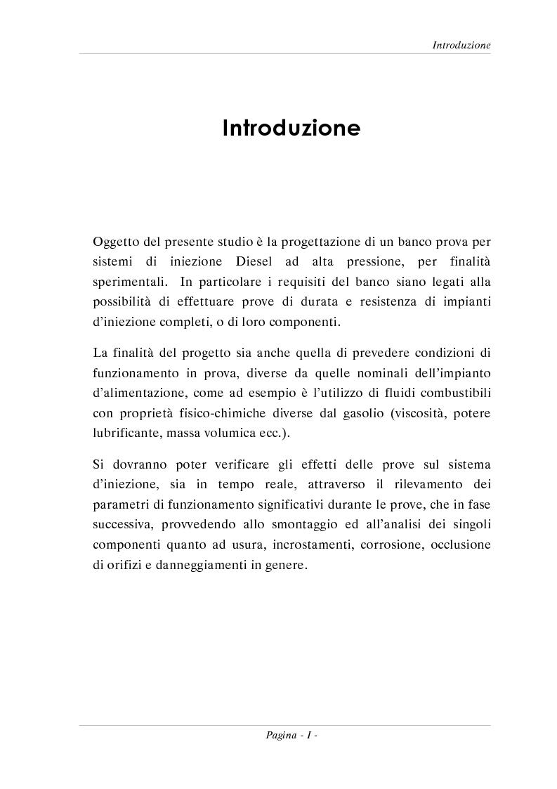 Anteprima della tesi: Progetto di un banco prova per sistemi di iniezione Diesel ad alta pressione, Pagina 1