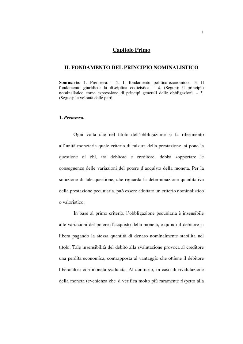 Anteprima della tesi: Il principio nominalistico nelle obbligazioni pecuniarie, Pagina 1