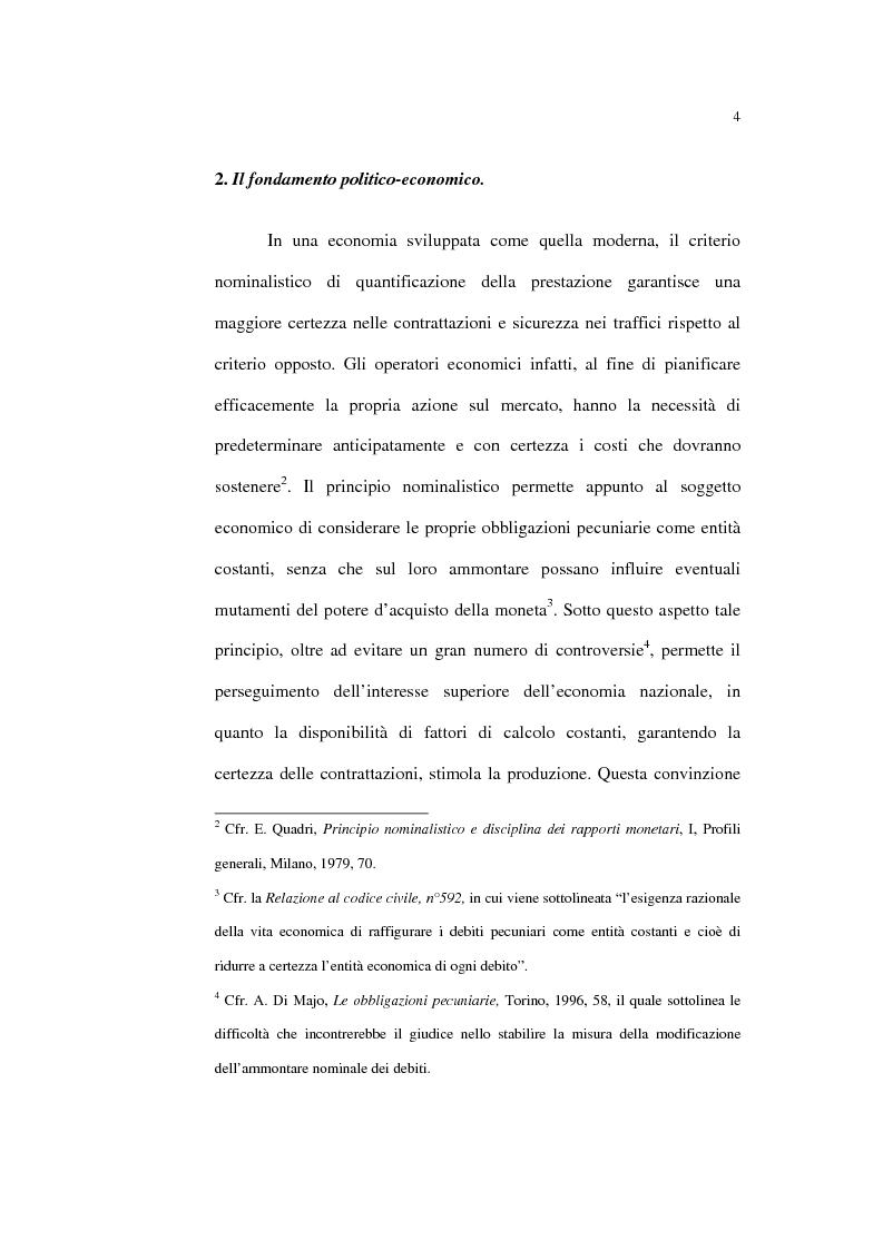 Anteprima della tesi: Il principio nominalistico nelle obbligazioni pecuniarie, Pagina 4