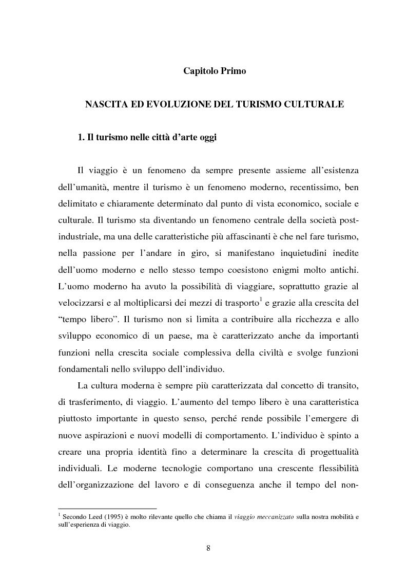 Anteprima della tesi: Il turismo culturale nelle città d'arte. Il caso di Trento, Pagina 5