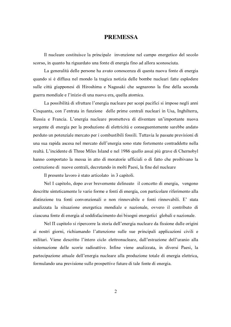 Anteprima della tesi: Il ciclo elettronucleare nello scenario energetico mondiale. Stato dell'arte e dinamiche evolutive, Pagina 1